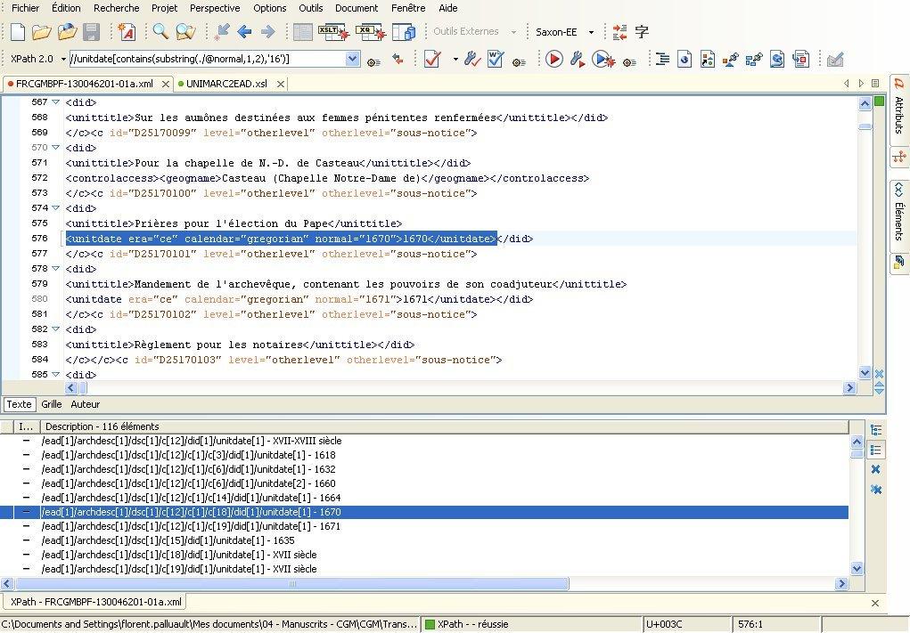 XPath exemple avec <unitdate>